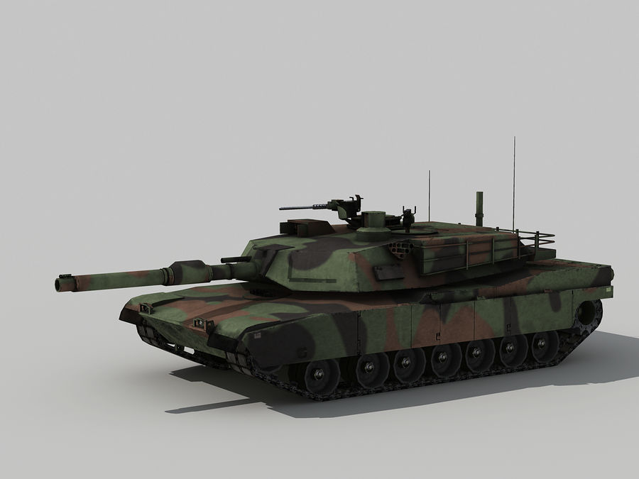 Lowpoly Abrams tank royalty-free 3d model - Preview no. 3