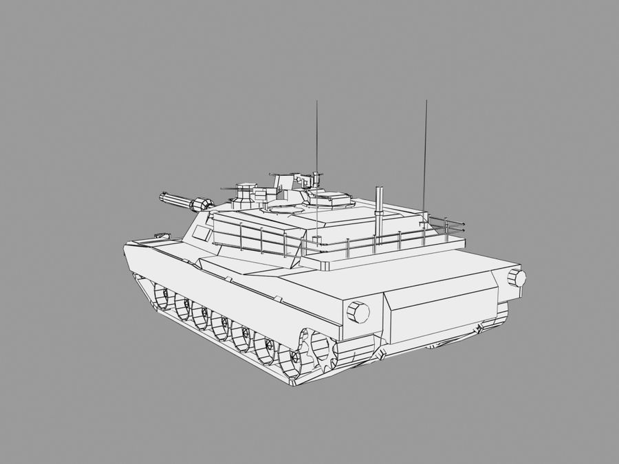 Lowpoly Abrams tank royalty-free 3d model - Preview no. 11