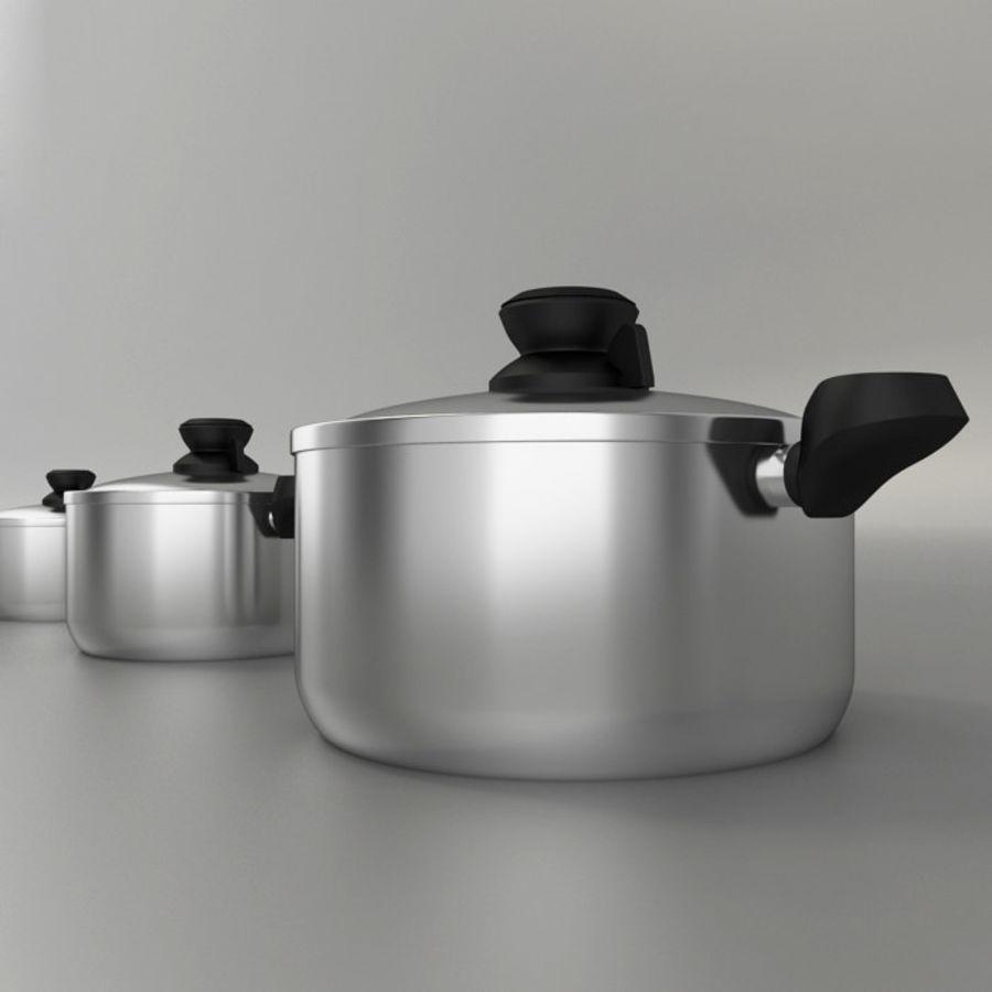 3 Pot pan cook royalty-free 3d model - Preview no. 1