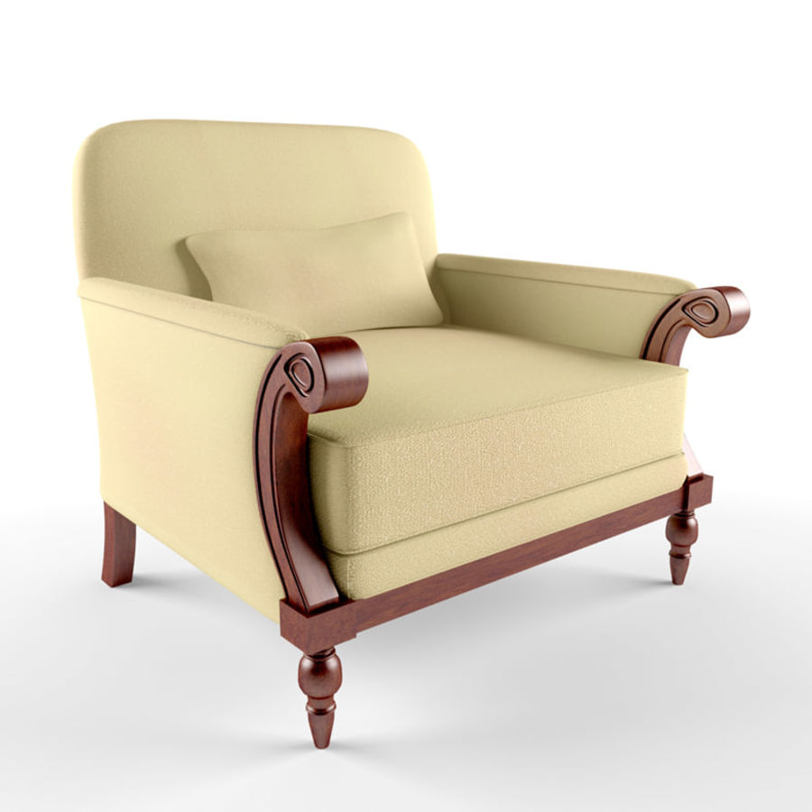 armchair(1) royalty-free 3d model - Preview no. 4