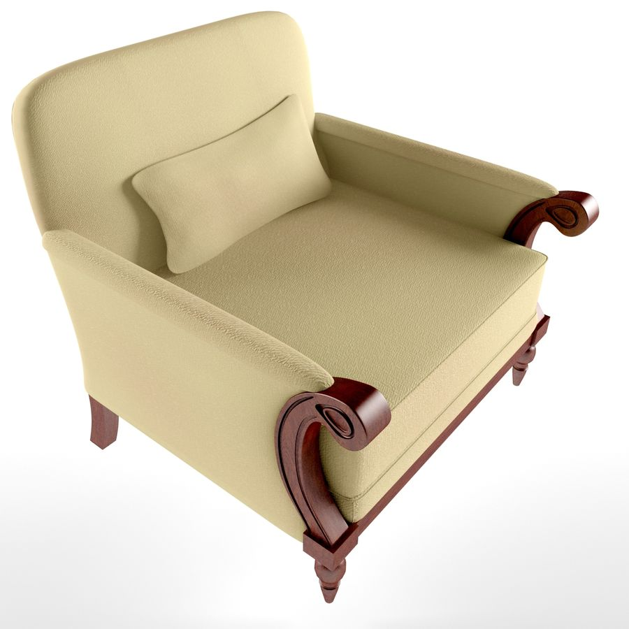 armchair(1) royalty-free 3d model - Preview no. 3