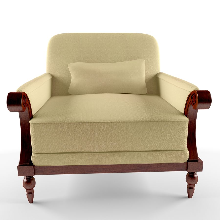 armchair(1) royalty-free 3d model - Preview no. 2