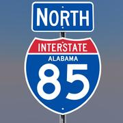 3D Alabama Interstate 85 tekens 3d model