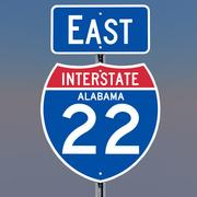3D Alabama Interstate 22 tekens 3d model