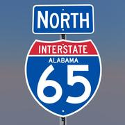 3D Alabama Interstate 65 tekens 3d model