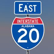 3D Alabama Interstate 20 tekens 3d model