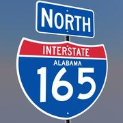3D Alabama Interstate 165 tekens 3d model