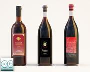 three bottle wine 3d model