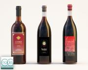 три бутылки вина 3d model