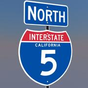 3D Californië Interstate 5 tekenen 3d model