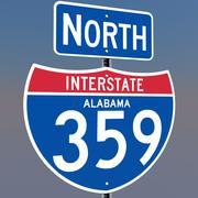 3D Alabama Interstate 359 tekens 3d model