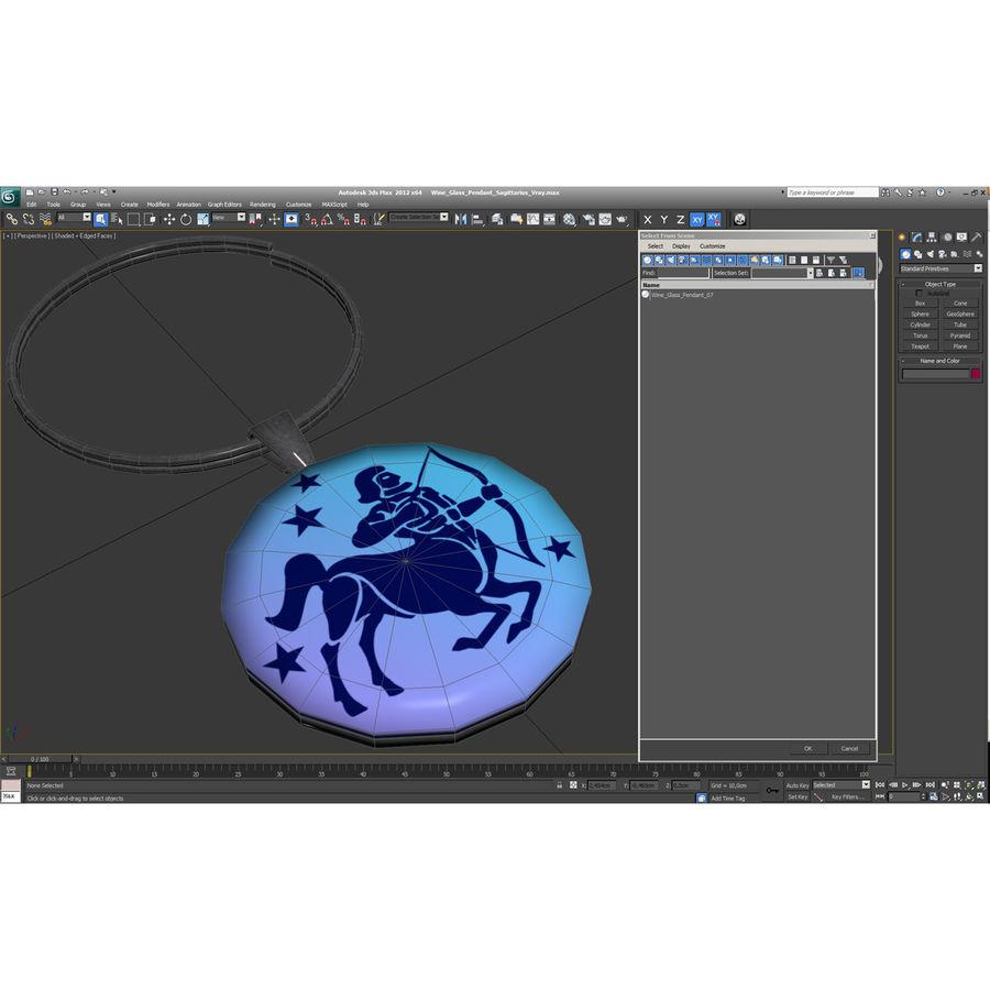 Wine Glass Pendant Sagittarius royalty-free 3d model - Preview no. 23