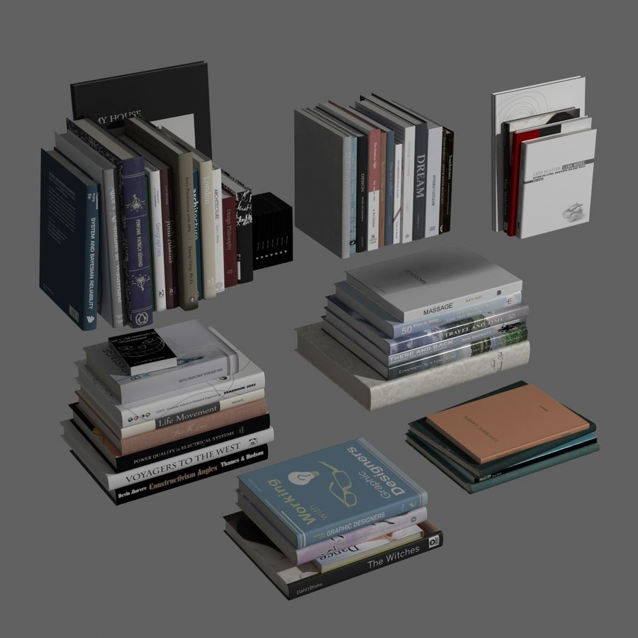 Books Collection royalty-free 3d model - Preview no. 2