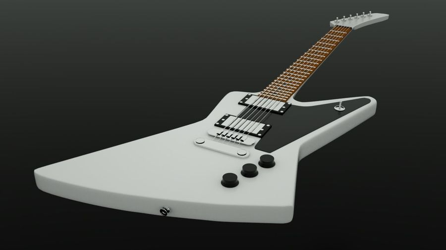 Guitar epiphone 1958 korina royalty-free 3d model - Preview no. 5