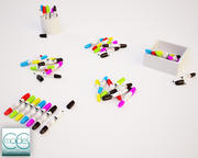 Markers pen in 6 positions 3d model