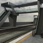 Paso elevado y vía férrea modelo 3d