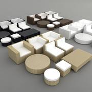 Rattan lounge furniture set_4 colors 3d model