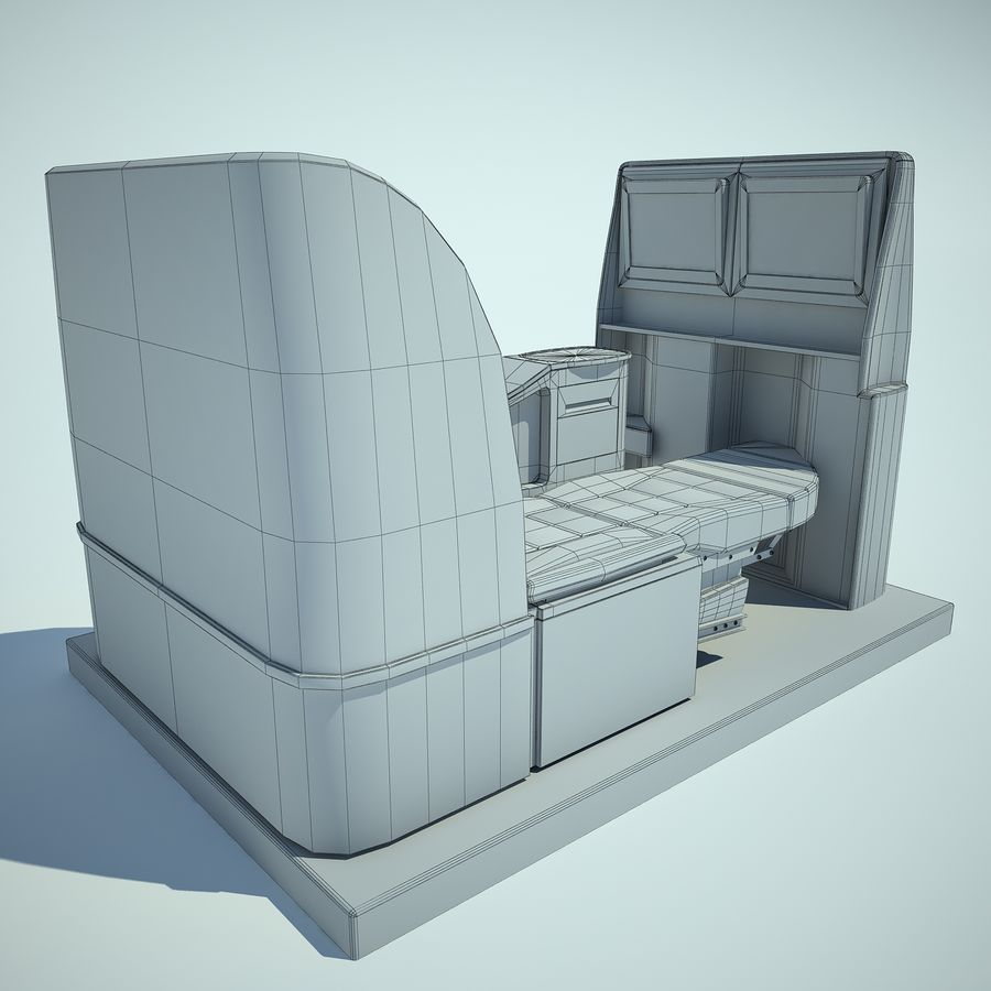 Seat Airplane Business Class 01 royalty-free 3d model - Preview no. 8