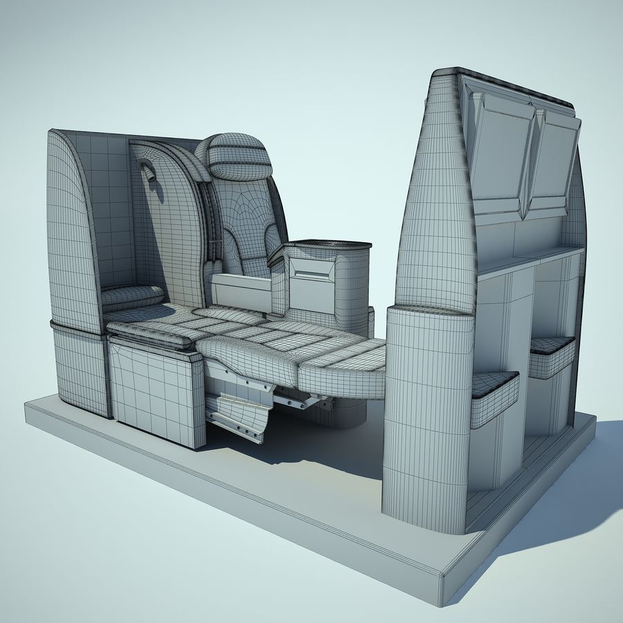 Seat Airplane Business Class 01 royalty-free 3d model - Preview no. 3
