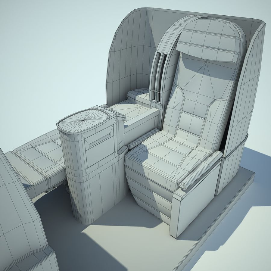 Seat Airplane Business Class 01 royalty-free 3d model - Preview no. 16