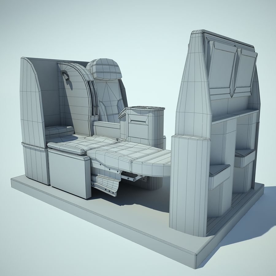 Seat Airplane Business Class 01 royalty-free 3d model - Preview no. 4