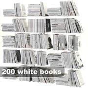 набор белых книг 3d model
