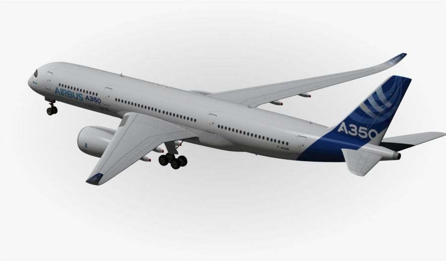 Airbus A350-900 XWB royalty-free 3d model - Preview no. 11