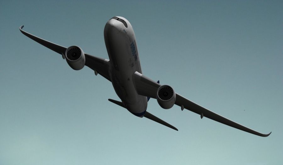 Airbus A350-900 XWB royalty-free 3d model - Preview no. 8
