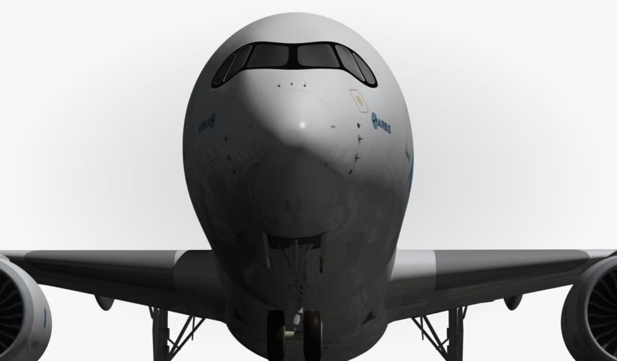 Airbus A350-900 XWB royalty-free 3d model - Preview no. 3