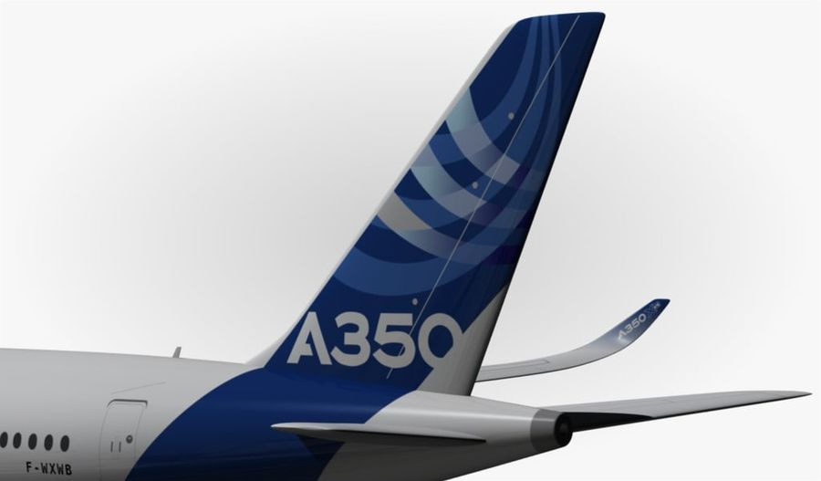 Airbus A350-900 XWB royalty-free 3d model - Preview no. 4