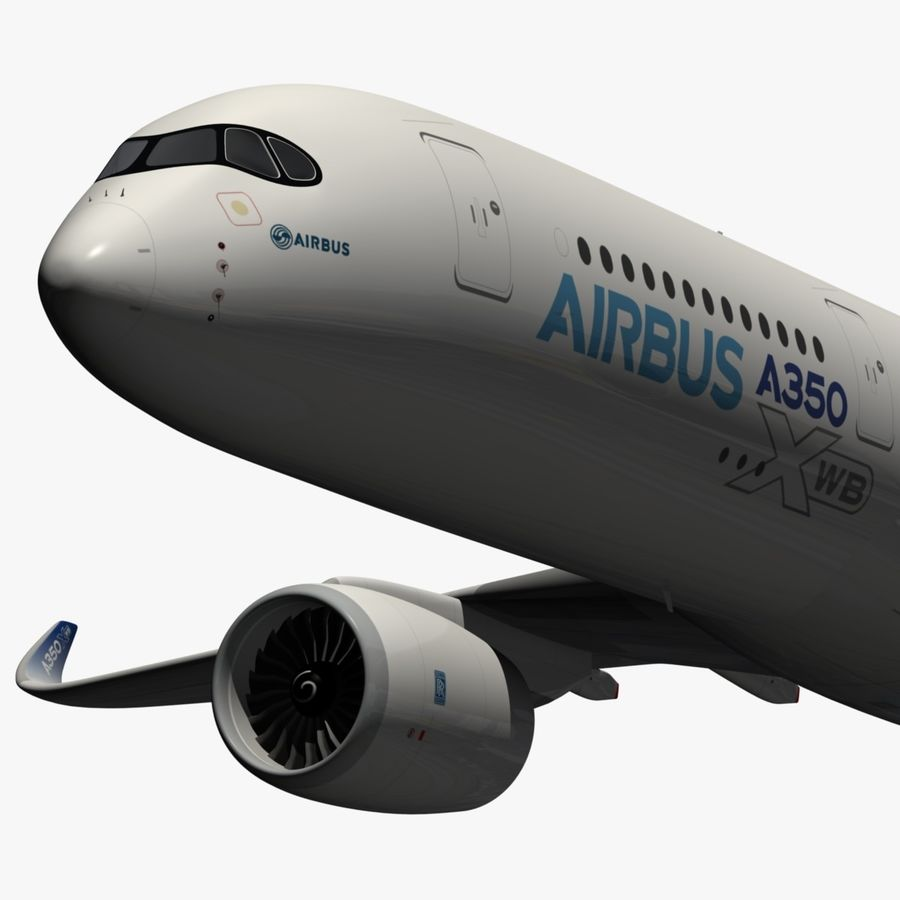 Airbus A350-900 XWB royalty-free 3d model - Preview no. 2