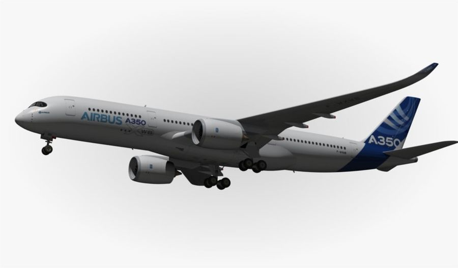 Airbus A350-900 XWB royalty-free 3d model - Preview no. 9