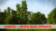 잔디로 애니메이션 대나무 식물 나무 3d model