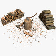Wood Log Chop Axe Stump 3d model