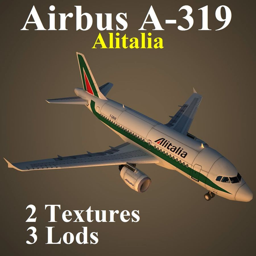 A319 AZA royalty-free modelo 3d - Preview no. 1