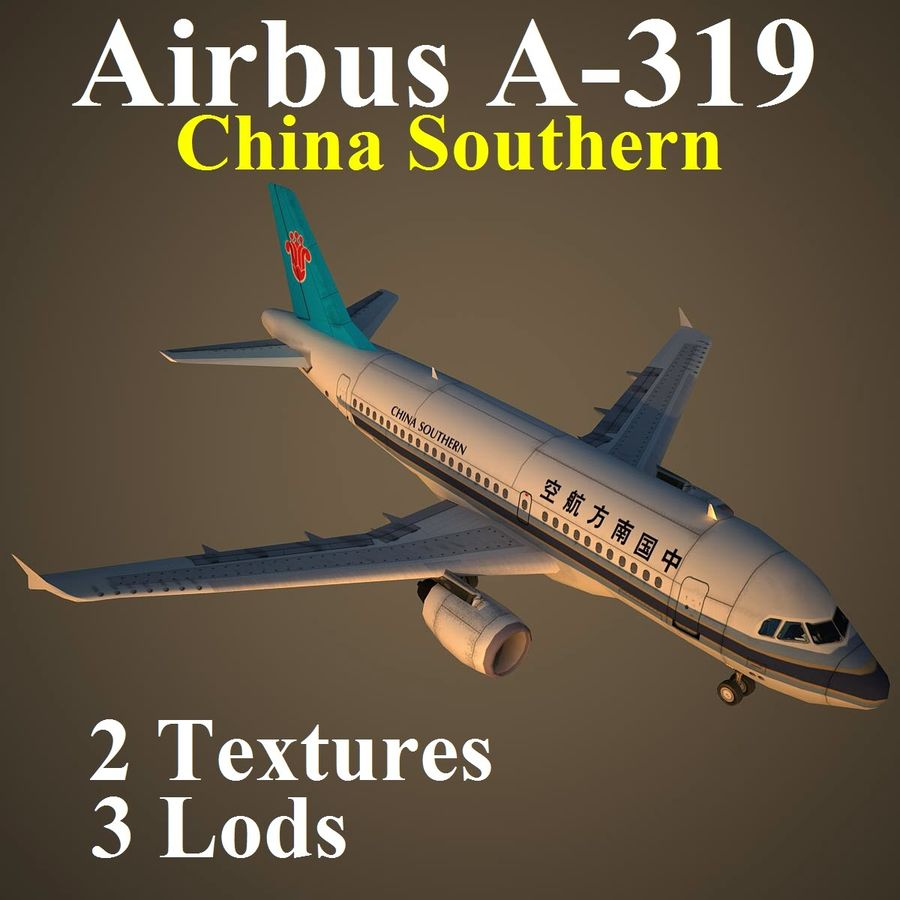 A319 CSN royalty-free 3d model - Preview no. 1