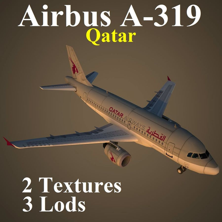 A319 QTR royalty-free 3d model - Preview no. 1