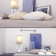 Pillows and furniture interiors 3d model