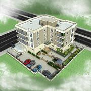 Edificio de la casa de la ciudad 4 modelo 3d