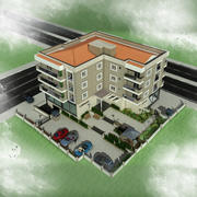 Edificio de la casa de la ciudad 3 modelo 3d