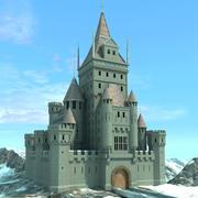 Średniowieczna fantazja zamku z pejzażem 3d model