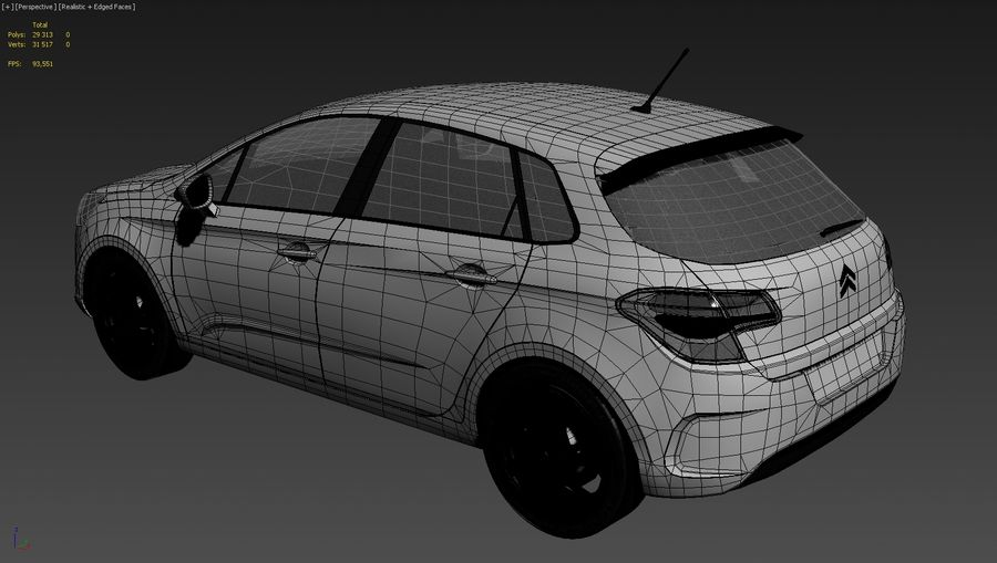 Citroen c4 royalty-free 3d model - Preview no. 9