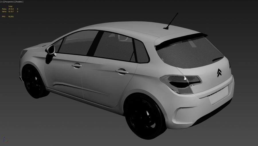 Citroen c4 royalty-free 3d model - Preview no. 7