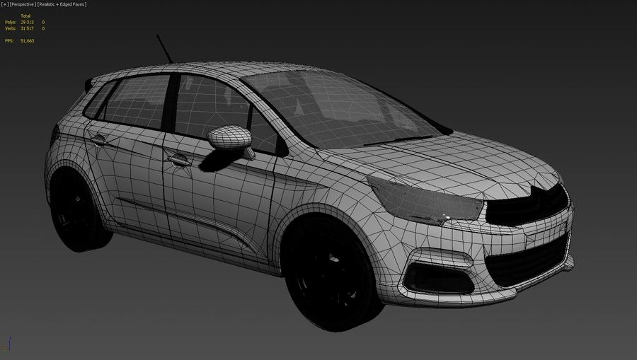 Citroen c4 royalty-free 3d model - Preview no. 8