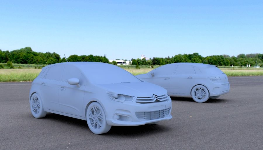 Citroen c4 royalty-free 3d model - Preview no. 3
