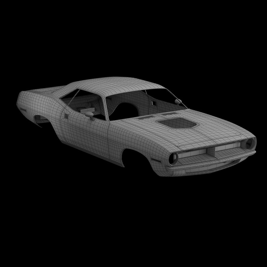 Plymouth Hemi Cuda 1970 royalty-free 3d model - Preview no. 15
