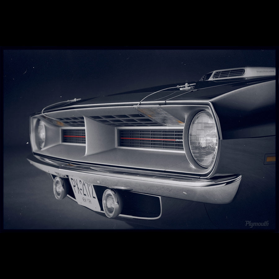 Plymouth Hemi Cuda 1970 royalty-free 3d model - Preview no. 4