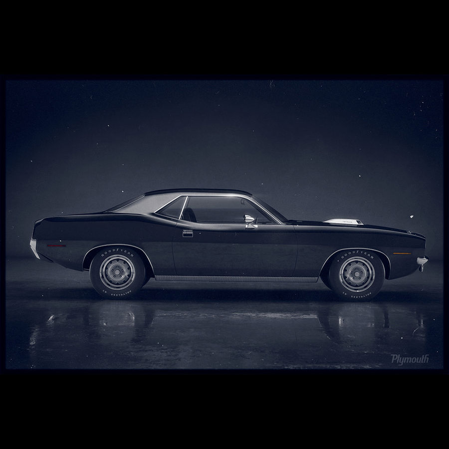 Plymouth Hemi Cuda 1970 royalty-free 3d model - Preview no. 6