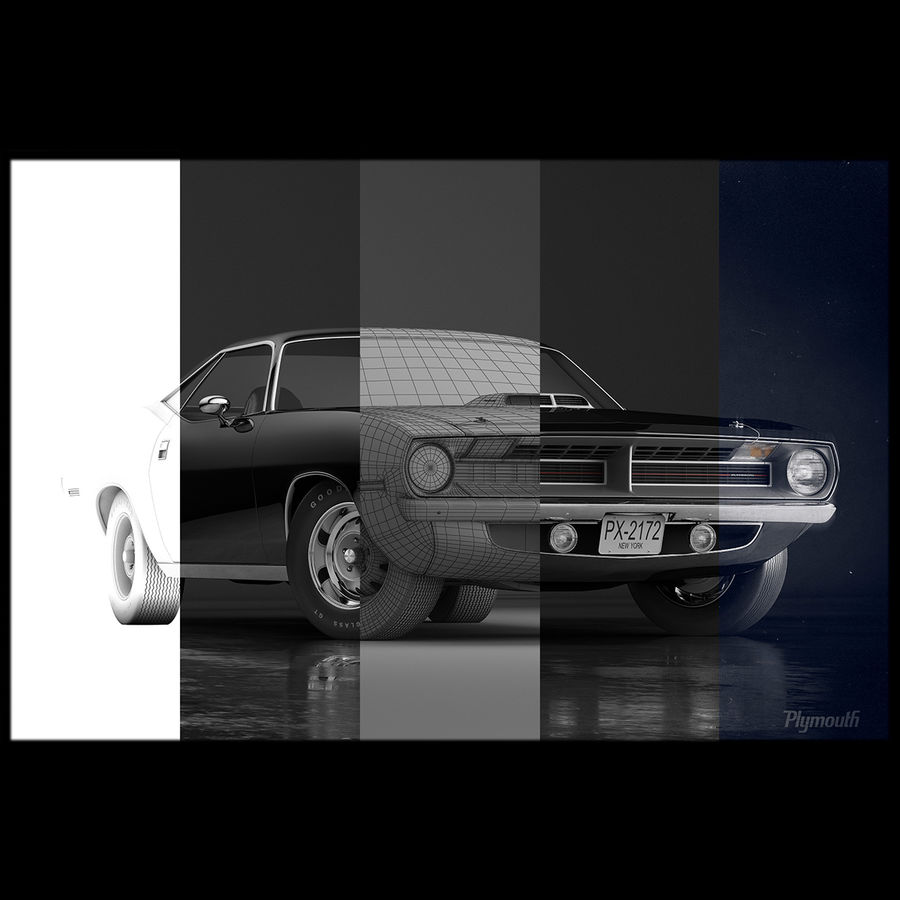 Plymouth Hemi Cuda 1970 royalty-free 3d model - Preview no. 11