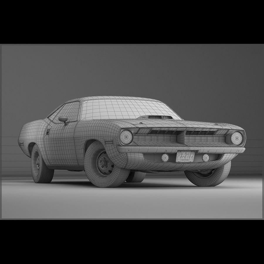 Plymouth Hemi Cuda 1970 royalty-free 3d model - Preview no. 13
